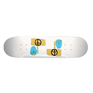 Teal Peace Sign Custom Skate Board