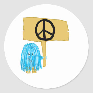 Teal Peace Sign Round Sticker