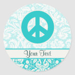 Teal Peace Sign Stickers