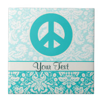 Teal Peace Sign Tile