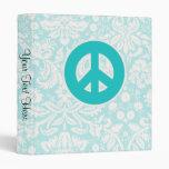 Teal Peace Sign Vinyl Binder