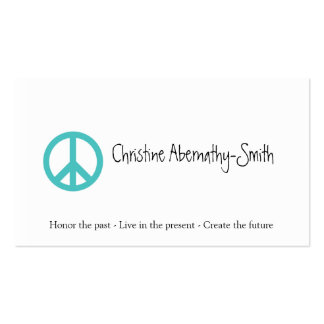 Teal Peace Symbol Business Card