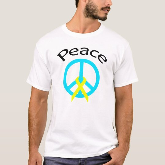 Teal Peace Word & Ribbon T-Shirt