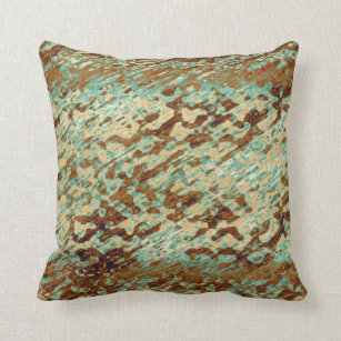 Teal Peach Brown Mottled Ink Stain Angled Texture Throw Pillow d951ea878c04