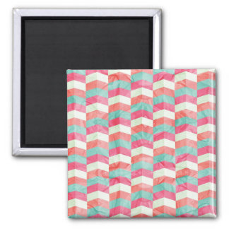 Teal Peach Chevron Pattern 2 Inch Square Magnet