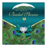 Teal Peacock Bridal Shower Invite Invites