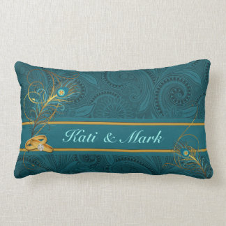 Teal Peacock Custom Wedding Pillow