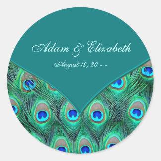 Teal Peacock Elegant Peacock Wedding Favor Label