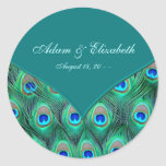 Teal Peacock Elegant Peacock Wedding Favor Label Classic Round Sticker