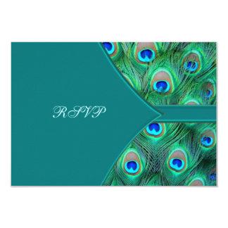 Teal Peacock Elegant Peacock Wedding RSVP Card