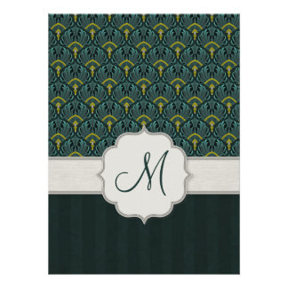 Teal Peacock Fans and Stripes with Monogram Invites