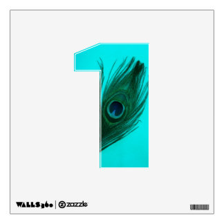 Teal Peacock Feather 1 Wall Decal