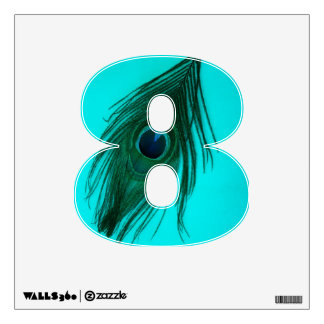 Teal Peacock Feather 8 Wall Decal