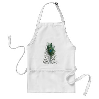 Teal Peacock Feather Adult Apron