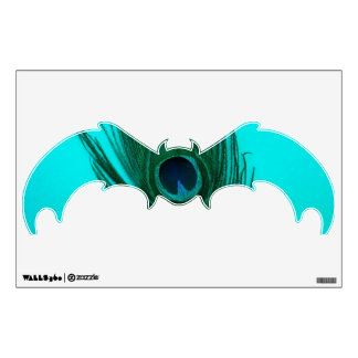 Teal Peacock Feather Bat Wall Decal