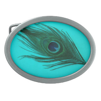 Teal Peacock Feather Belt Buckle