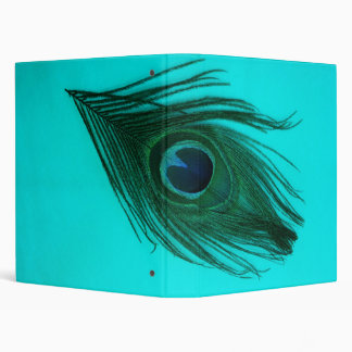 Teal Peacock Feather Binder