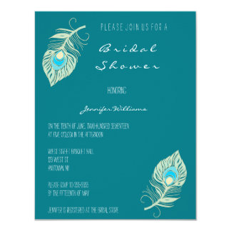 Teal peacock feather bridal shower invitations