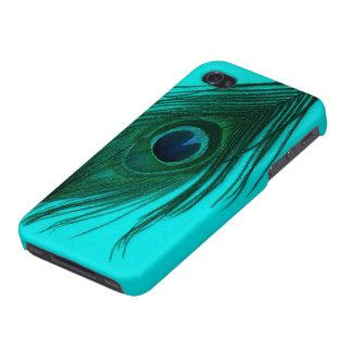 Teal Peacock Feather Cover For iPhone 4