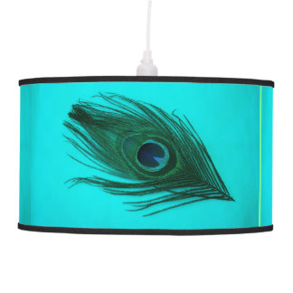 Teal Peacock Feather Hanging Lamp