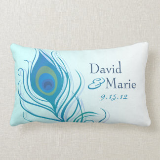Teal Peacock Feather Keepsake Pillow