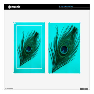 Teal Peacock Feather Kindle Skin