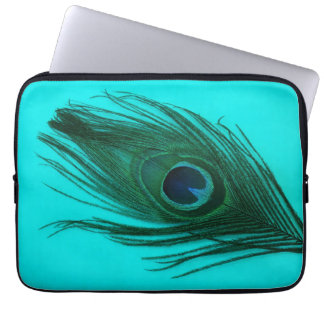 Teal Peacock Feather Laptop Sleeve