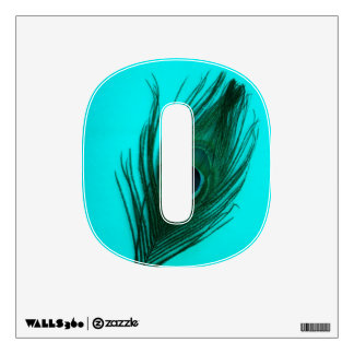 Teal Peacock Feather on Teal 0 Wall Decal