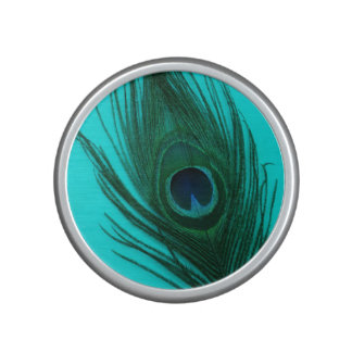 Teal Peacock Feather Speaker