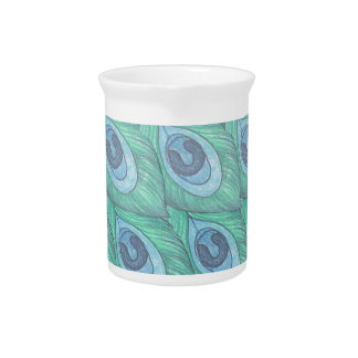Teal Peacock Feather Pattern Design Drink Pitcher