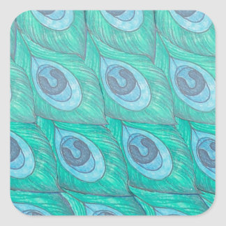 Teal Peacock Feather Pattern Design Square Sticker