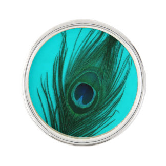 Teal Peacock Feather Pin