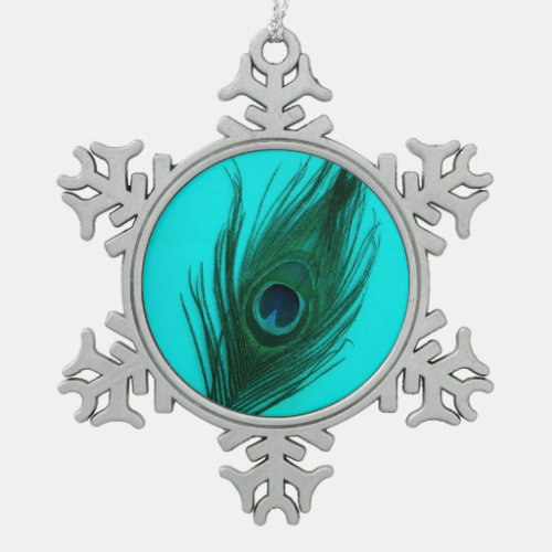 Teal Peacock Feather Snowflake Pewter Christmas Ornament