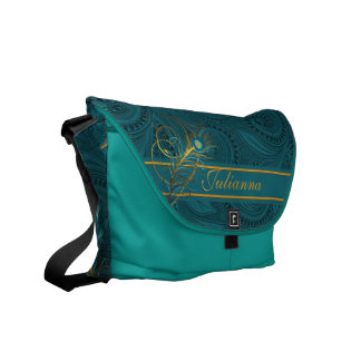 Teal Peacock Feather with Custom Name Courier Bag