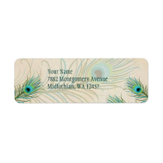 Teal Peacock Feathers Avery Label