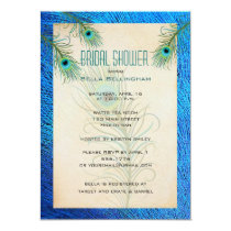 Teal Peacock Feathers Bridal Shower Invitation