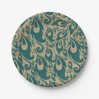 Teal Peacock Feathers Paper Plate