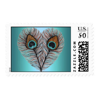 Teal Peacock Heart Postage