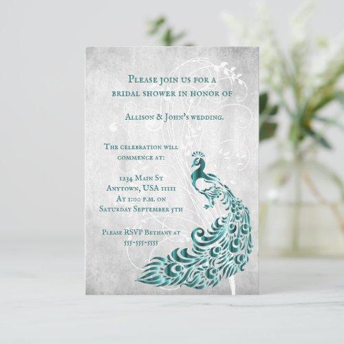 Teal Peacock Leaf Vine Bridal Shower Invite