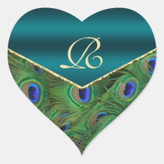 Teal  Peacock Monogram Envelope Seal Heart Sticker