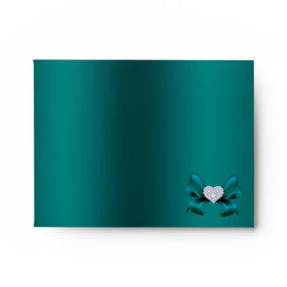 Teal Peacock Note Envelope