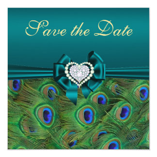 Teal Peacock Save the Date Card