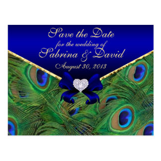 Teal Peacock Save the Date Postcard Blue