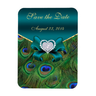 Teal Peacock Save the Date Vinyl Magnets