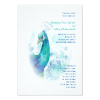 Teal Peacock Vintage Style Watercolor Wedding Card