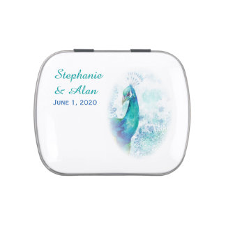 Teal Peacock Vintage Style Wedding Candy Tins