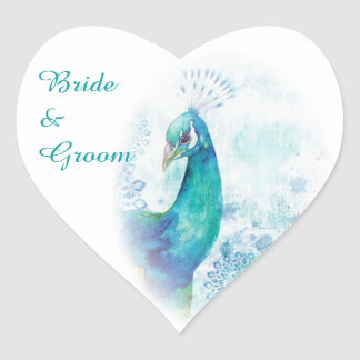 Teal Peacock Watercolor Wedding Stickers