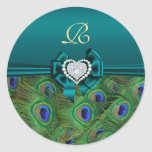Teal Peacock Wedding Gift Seal Classic Round Sticker