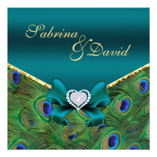 Teal Peacock Wedding Invitation Personalized Invitations