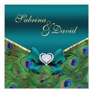 Teal Peacock Wedding Invitation 5.25
